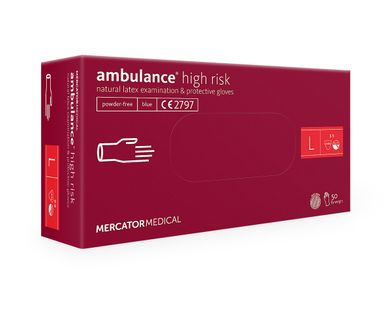 Rękawice lateksowe ambulance high risk L  50 szt