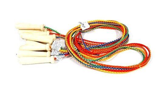 Kolorowa Sznurkowa Skakanka z Drewnianymi Rączkami 210 cm