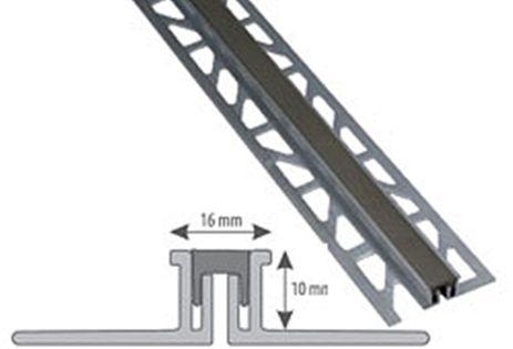 Listwa aluminiowa dylatacyjna do płytek 10mm/2,5m szara