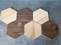 Płytki heksagon drewno PLASTER MIODU multicolor