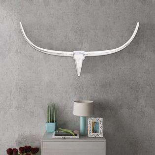 Lumarko Srebrna ozdoba ściany bycze rogi z aluminium 125 cm