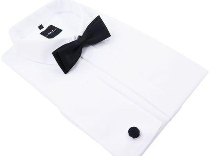 Biała koszula męska Mmer na spinki z plisą kryjącą guziki 031 M1 188-194 / 40-Slim