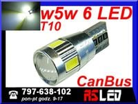 żarówka LED T10 w5w CanBus soczewka can bus 12v biała zimna