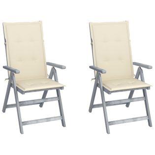 Lumarko Rozkładane krzesła ogrodowe z poduszkami, 2 szt., lita akacja