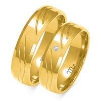 Obrączki ślubne zlote model A123 Kolor złota - ŻóŁte złoto, Rodzaj Kamieni - Brylanty, Rozmiar obrączki damskiej - 13, Rozmiar obrączki męskiej - 13