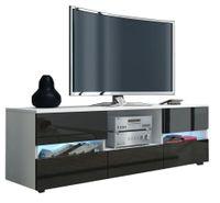 Szafka RTV nowoczesna 140cm biały/czarny połysk