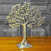 Srebrne Metalowe Ozdobne Drzewo Stołowe 32Cm