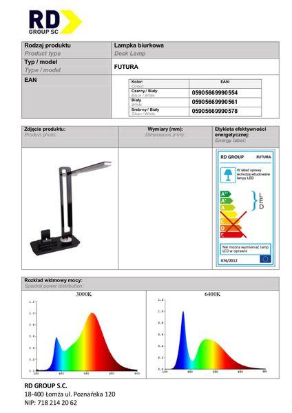 Lampka biurkowa LED 7W FUTURA stacja dokująca micro USB + port USB zdjęcie 4