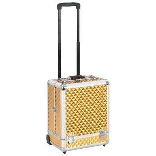 Walizka kosmetyczna na kółkach 35x29x45cm złota aluminiowa VidaXL