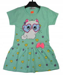 Sukienka Kicia zielona, bawełna roz.98