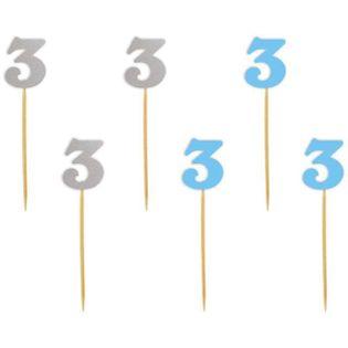 """Szpilki drewniane """"Urodziny  3"""", błękitno-srebrne, 6 szt"""