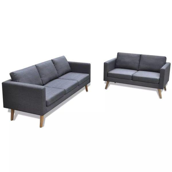 Sofa Sofy Ciemnoszare 2 Osobowe I 3 Osobowe