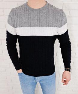 Trojkolorowy sweter meski 3629 czarny - XL