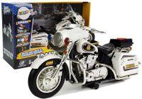 Motor Motocykl Policyjny Biało-Czarny Z Dźwiękami I Światłami