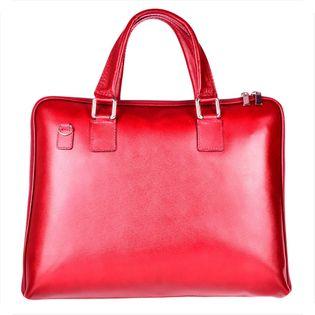 Elegancka aktówka skórzana XL- bordo - czerwona