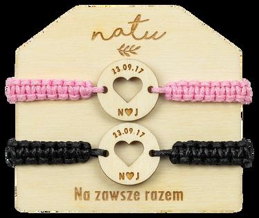 Bransoletki dla pary z grawerem SERCE data imiona NATU