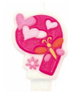 Świeczka cyferka 9 różowa urodziny dla dziewczynki