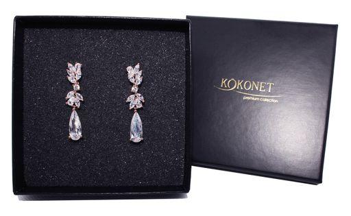 kolczyki ROSE GOLD ślubne wesele ZŁOTE kwiat diamenty LUKSUSOWE 8-0091