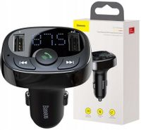 Transmiter FM Bluetooth MP3 Baseus +Ładowarka 2xUSB 2.4A Micro SD czarny