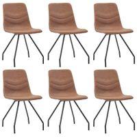 Krzesła jadalniane, 6 szt., brązowe, sztuczna skóra