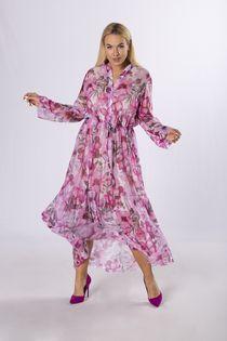 wzorzysta sukienka z wiązaniem w pasie