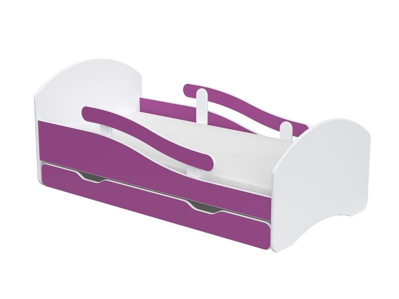 Łóżko dziecięce łóżeczko 140x70 biały / fiolet szuflada materac zdjęcie 1