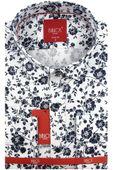 Koszula Męska Biblos biała w kwiatki na długi rękaw w kroju SLIM FIT A289 L 41 176/182