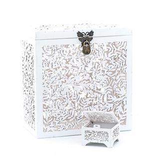 Zestaw o delikatym Wzorze Pudełko na koperty + pudełko obrączki.