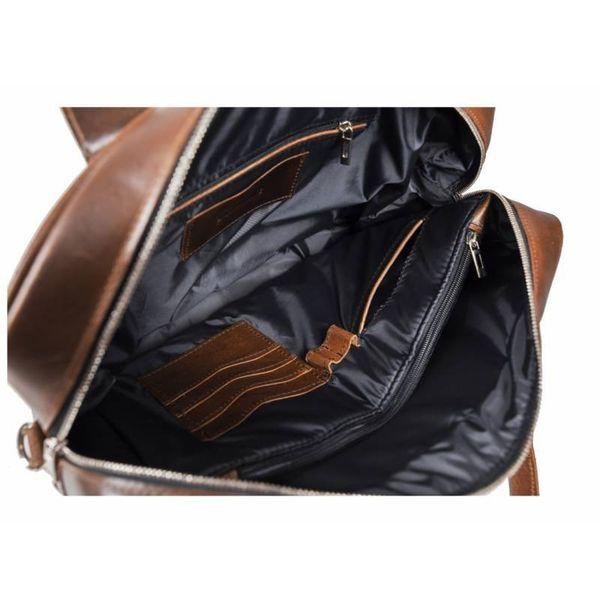f9acf0763700d Duża skórzana torba na laptop Brodrene jasny brąz z czarnym wnętrzem  zdjęcie 9