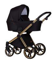 Baby Merc Mango Limited wózek dziecięcy 3w1 czarny na złotej ramie