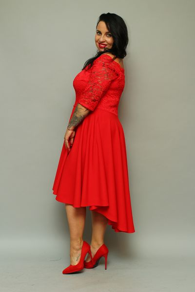 b0919f649e Sukienka SABINA rozkloszowana ekskluzywna dłuższy tył czerwona 52 zdjęcie 2