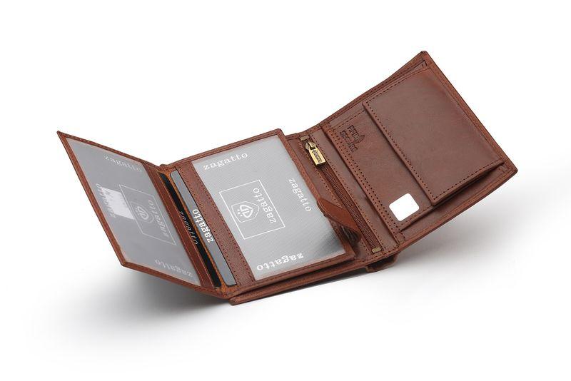 528b7670b7c28 Portfel skórzany męski Zagatto z ochroną kart RFID BLOCK N4 GT zdjęcie 3