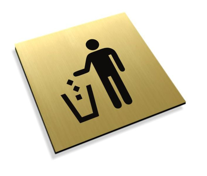 Tabliczki informacyjne na drzwi piktogram kosz na śmieci piktoramy na Arena.pl