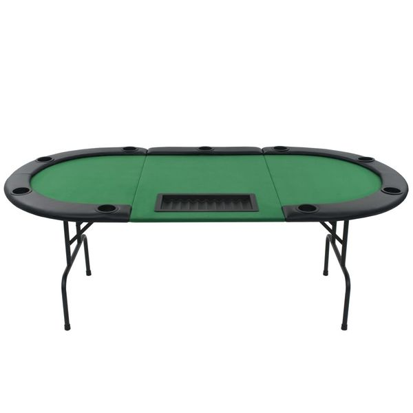 Składany, owalny stół do pokera dla 9 graczy, zielony zdjęcie 3