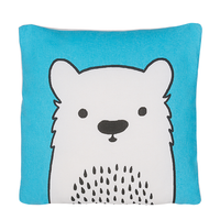 Bawełniana poduszka dla dzieci miś 45 x 45 cm niebieska WARANASI