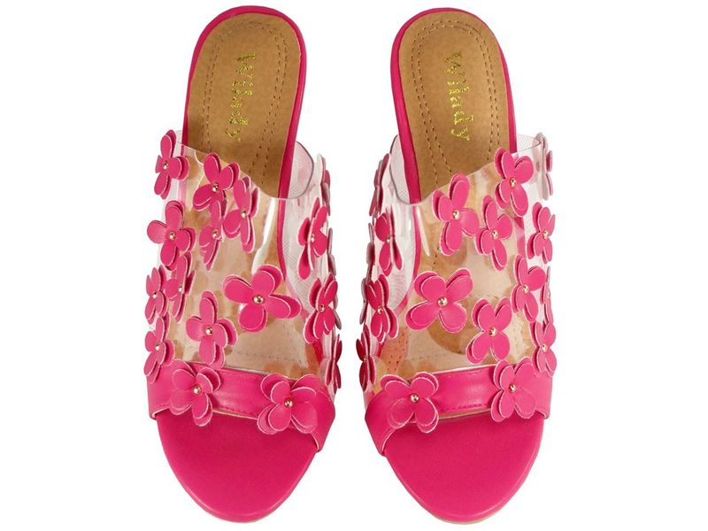 e339bb7019196b Różowe klapki damskie przeźroczyste na obcasie Rozmiar Buta - 36 zdjęcie 4