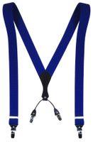Niebieskie - Kobaltowe szelki męskie do spodni SZ11 Długość szelek przed rozciągnięciem - 130cm - rozmiar XXL - dla dużych lub wysokich mężczyzn.
