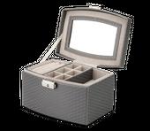 Kuferek na bizuterię organizer w kolorze srebrnym