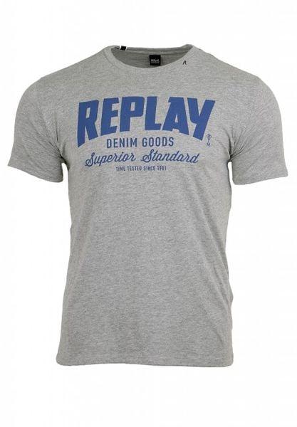 REPLAY Men's Printed Cotton Jersey T-Shirt Grey Melange M34812660-M02 - L zdjęcie 4