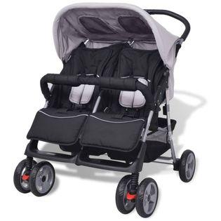 Wózek spacerowy dla bliźniaków szary i czarny