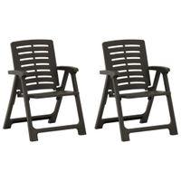 Lumarko Krzesła ogrodowe, 2 szt., plastikowe, antracytowe;