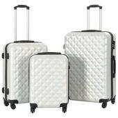 Zestaw twardych walizek, 3 szt., jasny srebrny, ABS 91887