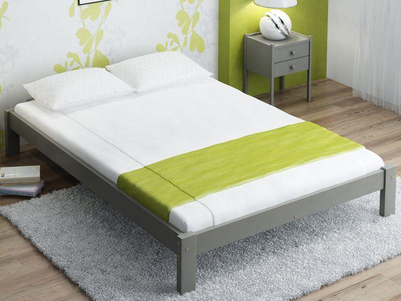 160x200 łóżko Szare Sosnowe Do Sypialni Masywne F1