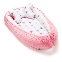 LiliBaby Dwustronny kokon dla niemowląt - gw. różowa & minky różowe