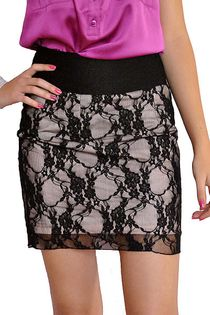 Elegancka spódnica, koronka, różowa podszewka - 34 / XS