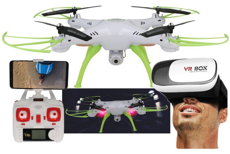 Dron Syma X5HW kamera Wi-Fi funkcja zawisu Gogle VR 3D Biały Y142GB zdjęcie 14