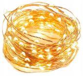 LAMPKI DRUCIKI 100 MICRO LED CHOINKOWE BIAŁY CIEPŁ