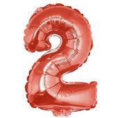 Balon foliowy CYFRA 2 czerwona liczba DWA urodziny