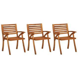 Lumarko Krzesła ogrodowe, 3 szt., lite drewno akacjowe;