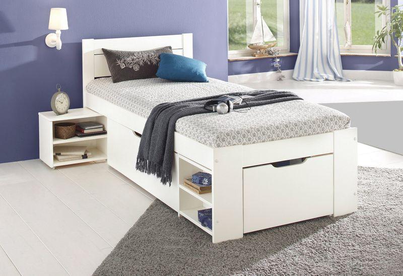 Młodzieżowe łóżko Z Sosny Z Szufladami I Półkami